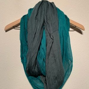 Teal and olive infinity scarf